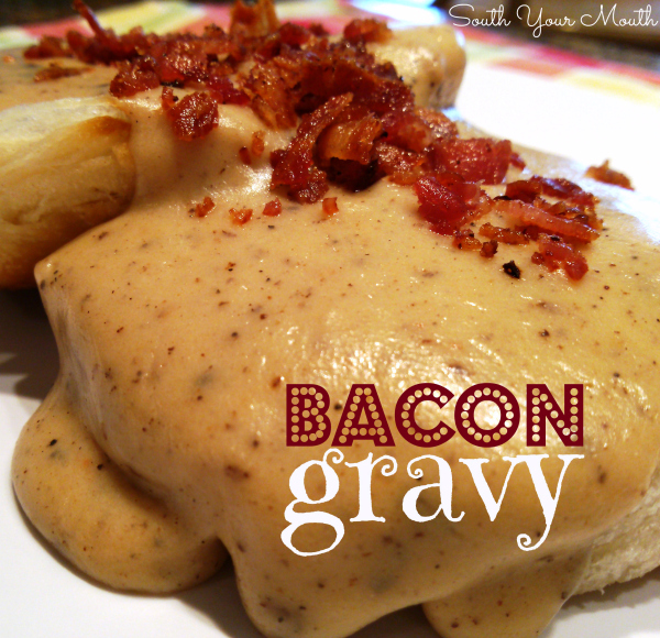 A rich country gravy recipe made from bacon drippings served over biscuits or toast.