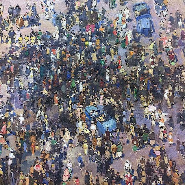 André Devambez art, an aerial vew of a crowd