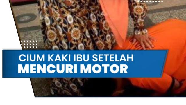 Pria di Malang Curi Motor Ibu Kandungnya untuk Judi Online, Minta Maaf dan Bersujud Cium Kaki Ibu