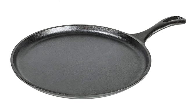 Lodge L9OG3 Pre-Seasoned Cast-Iron Round Griddle, 10.5-inch