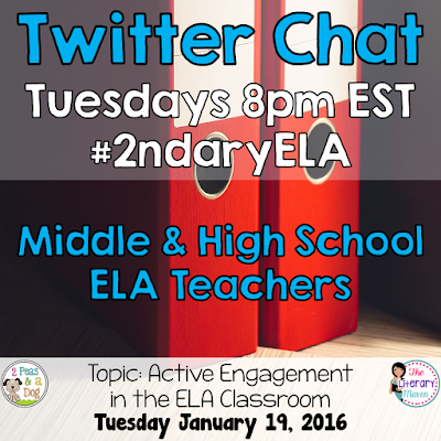 Join secondary English Language Arts teachers Tuesday evenings at 8 pm EST on Twitter. This week's chat will focus on active engagement in the ELA classroom.