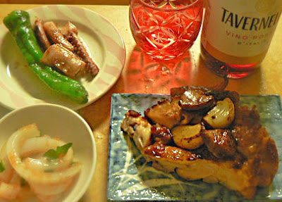 鶏肉ガーリック イカ刺し イカのゲソ焼き