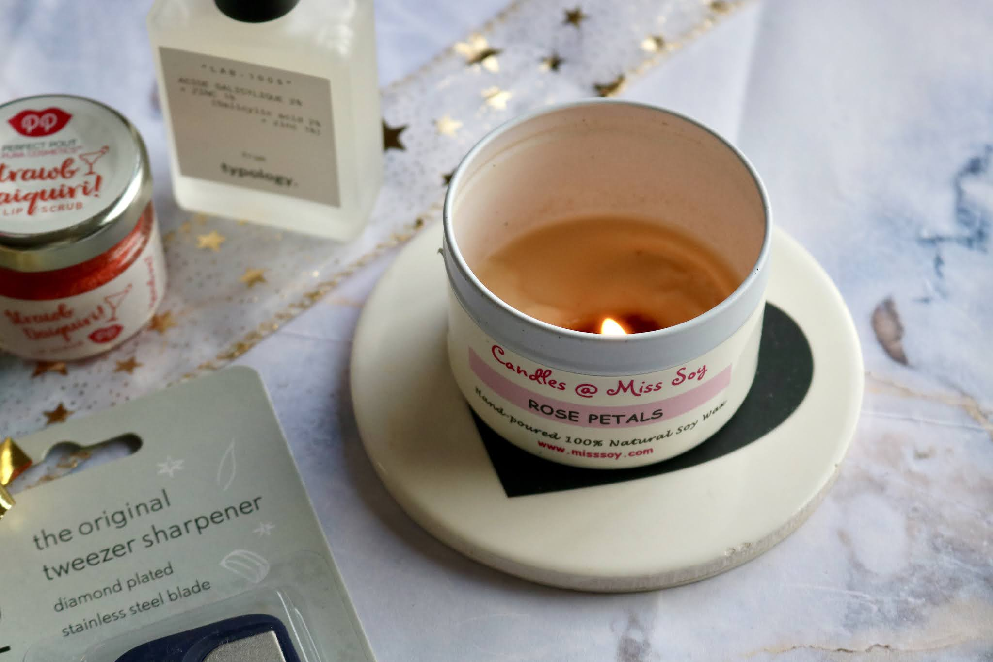 Miss Soy Rose Petal Candle in a tin