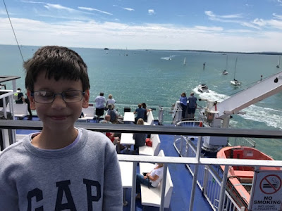 Child on a Wightlink ferry from Portsmouth