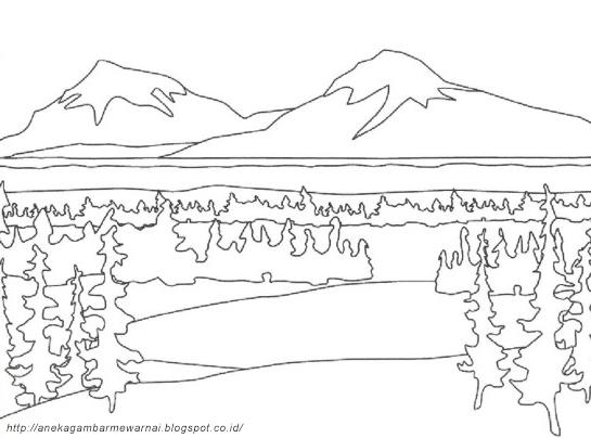 Gambar Mewarnai Pemandangan Alam Untuk Anak Paud Dan Tk