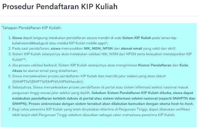 prosedur pendaftaran Program KIP-Kuliah Kemdikbud
