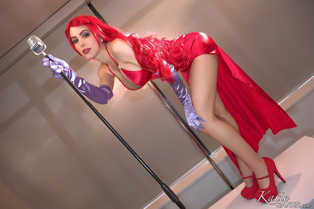 Katie banks jessica cosplay red dress bent down pose