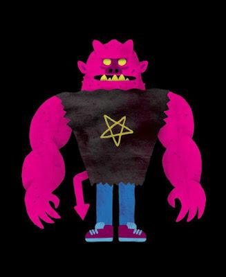 Ilustração da obra Um Livro Infantil dos Demônios, contendo o desenho de um demônio de cor violeta, com os olhos brancos, vestindo sapatos roxos, uma calça jeans e uma camisa rasgada com a estampa de um pentagrama invertido.