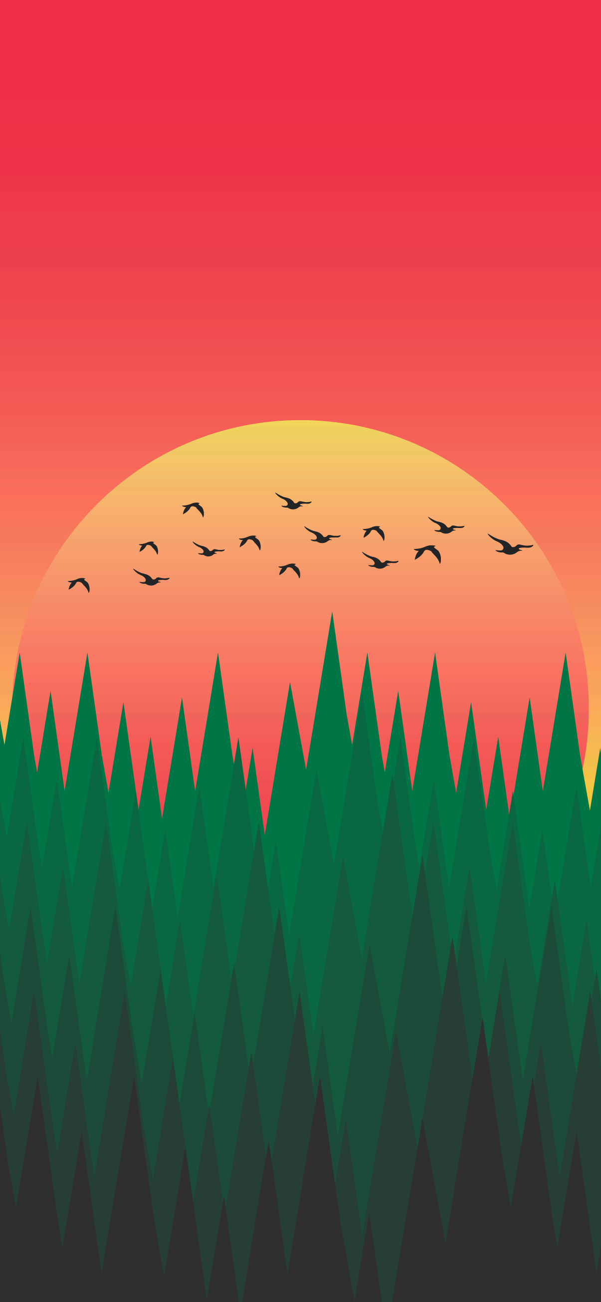 Minimalist phone wallpaper - Sunset in the forest ...