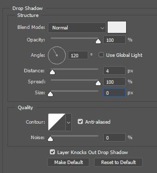 Pengaturan akhir bayangan untuk gelas kopi menggunakan Drop Shadow di Photoshop