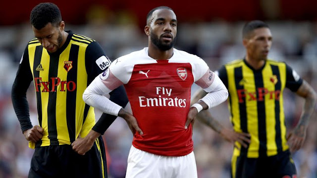 Lacazette Celebrates goal against Watford