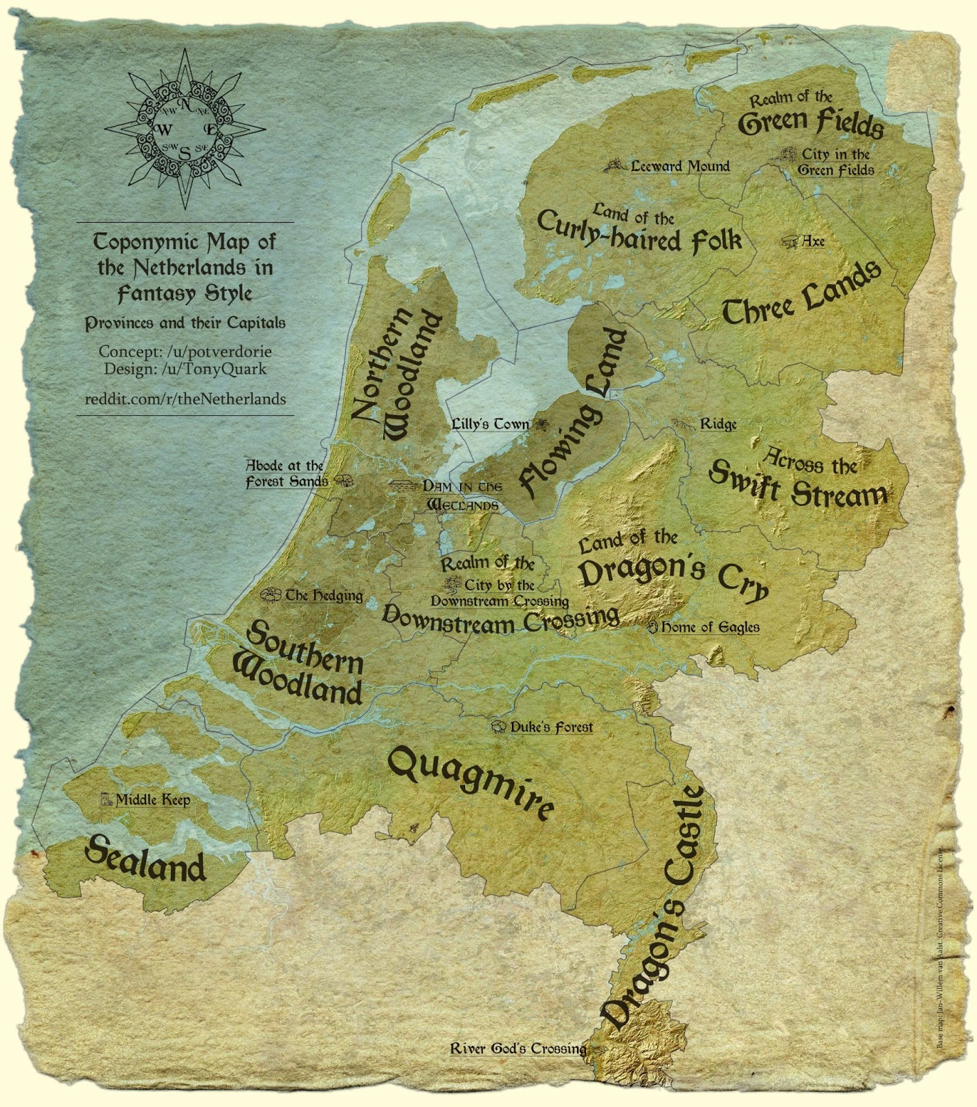Toponymic map of the Netherlands in Fantasy style