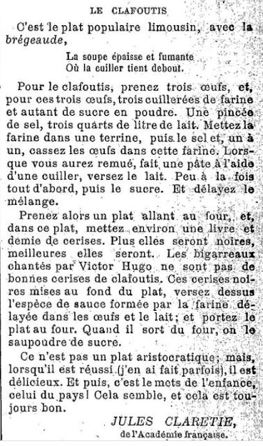 Recette du clafoutis limousin de Jules Claretie