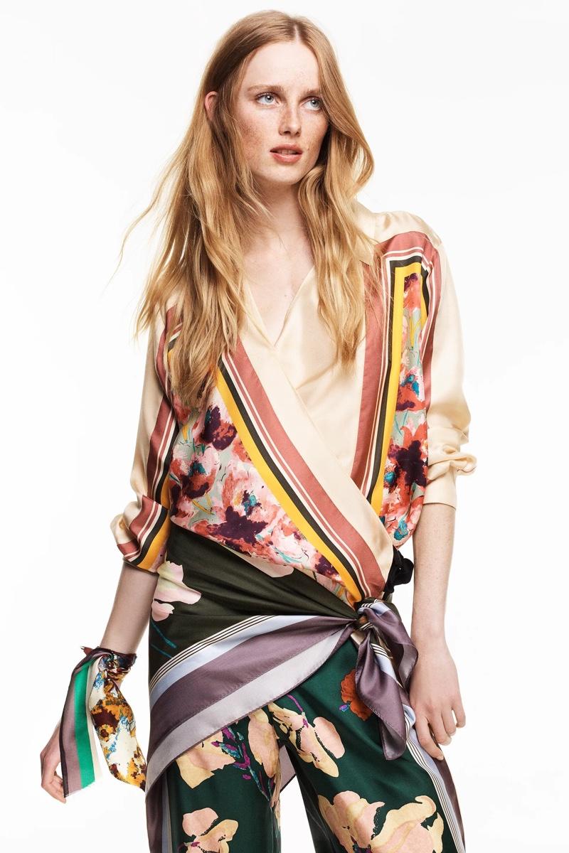 Rianne van Rompaey wears Zara Limited Edition Printed Silk Blouse and Pants.