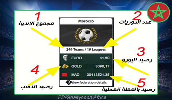 نظرة عامة على الاتحاد المغربي داخل جول تايكون الربحية  Morocco Federation in GoalTycoon
