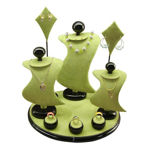 This Combination Jewelry Display Set in green sure is eye-catching | NileCorp.com