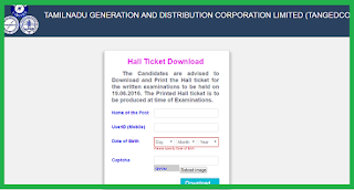 TANGEDCO EXAM HALL TICKETS DOWNLOAD