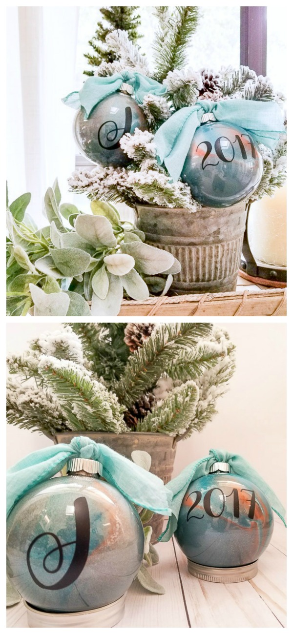 marbled metallic ornaments | diy beautify