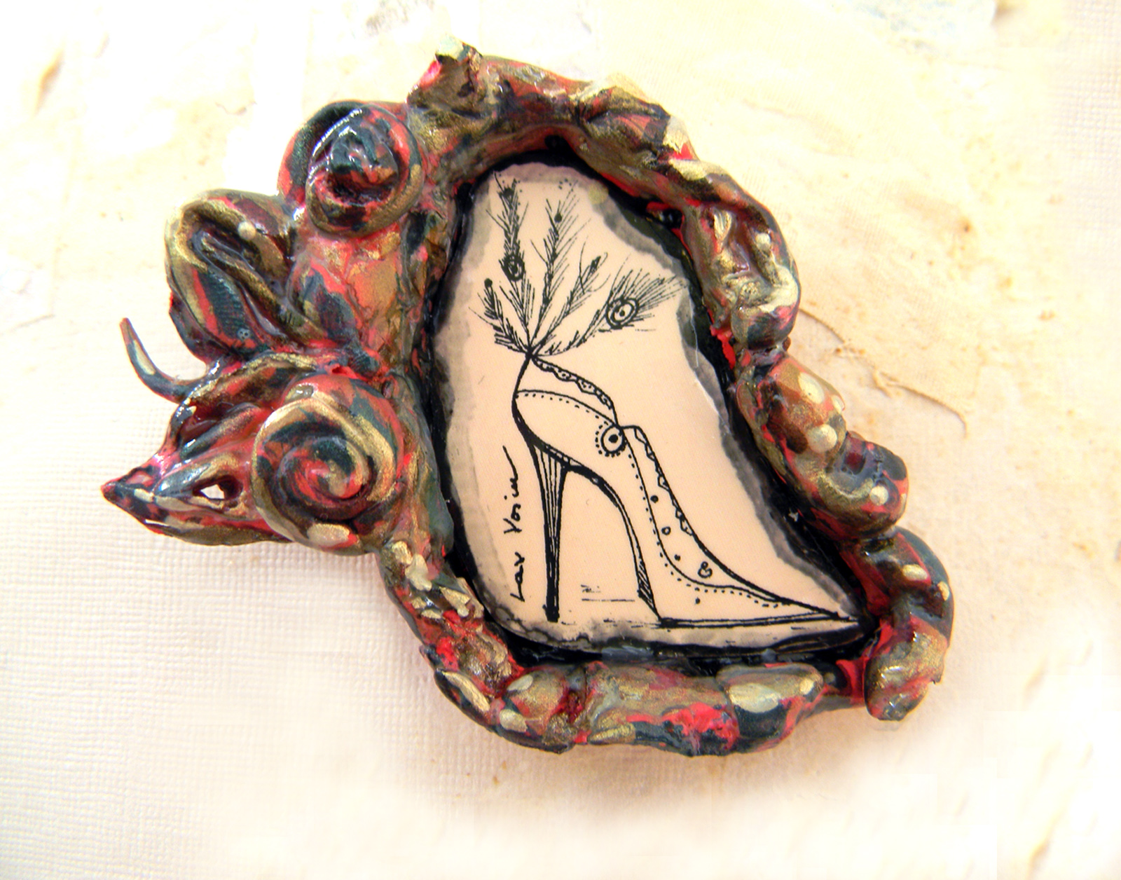 Artistic Brooch Original Fine Art Drawing