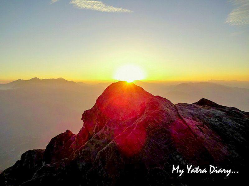 Band of sun during sunset at Mukteshwar Uttarakhand