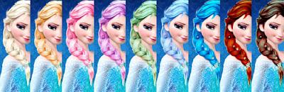 Putri Elsa Frozen Rainbow Princess Rambut Pelangi
