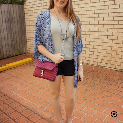awayfromblue isntagram printed kimono metallic tank and denim shorts, Rebecca Minkoff edie bag