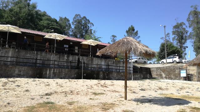 chapéus de sol de palha na praia fluvial de Verim