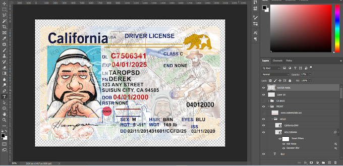 California driver license PSD TEMPLATE 2020