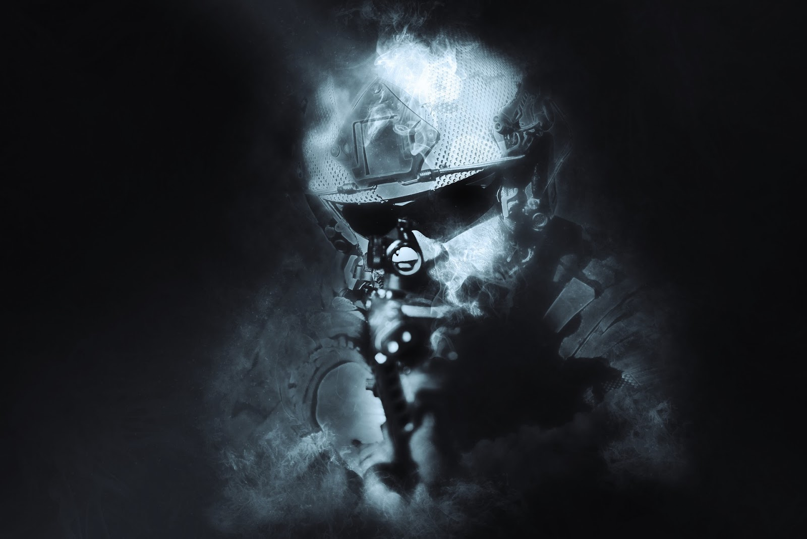 soldier facing camera and disappearing into blue smoke for blog post about movie rambo: last blood