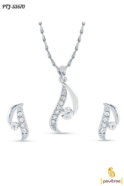 Silver chain pendant set with earrings for wedding and party wear online collection discount offer sale in lowest prices