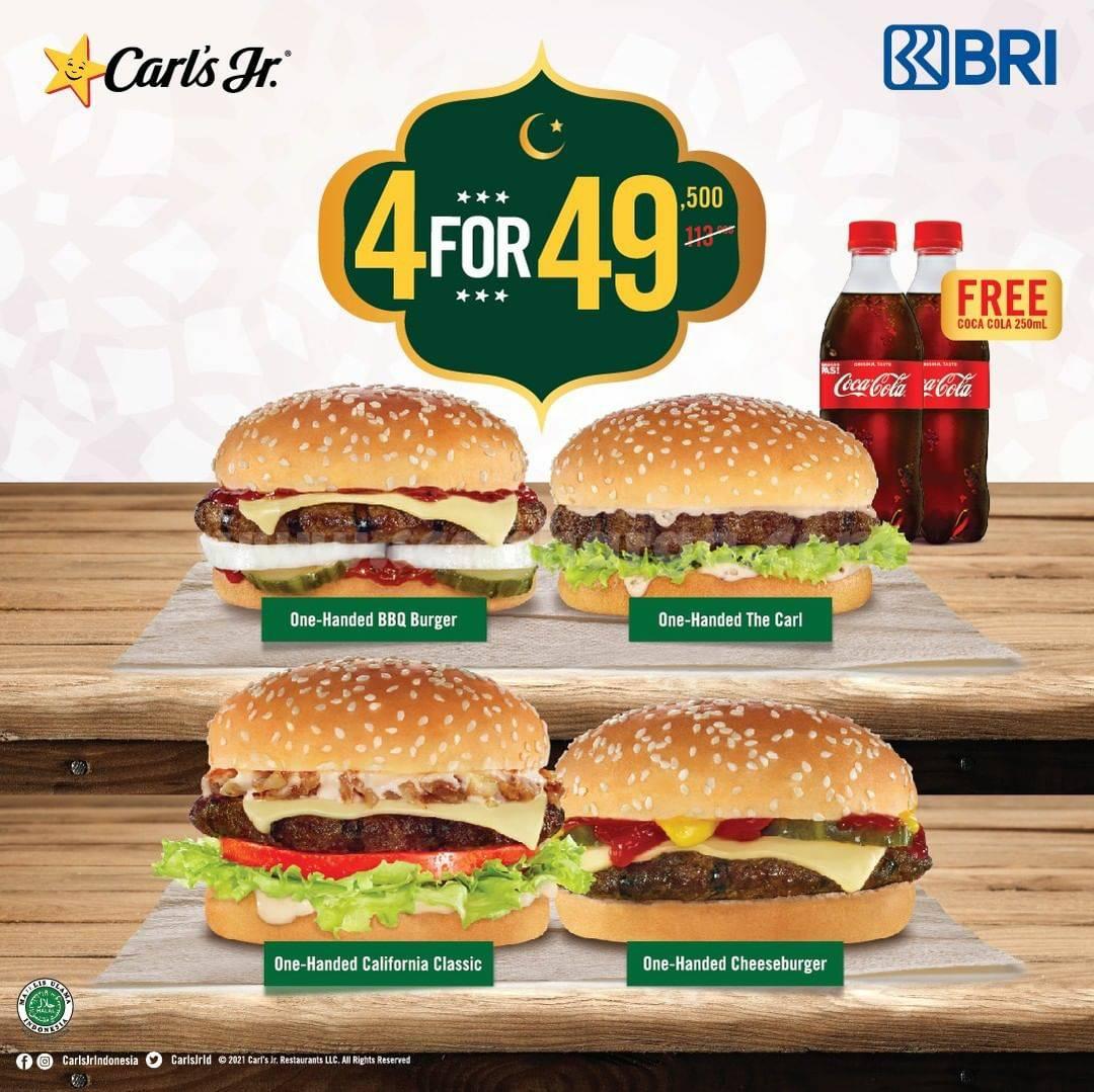 Carls Jr Promo 4 Burger hanya Rp 49.500 dengan Kartu Kredit & Debit BRI