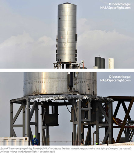 Starship SN4 repairs and test hop after fire after static burn delayed till after crewed Dragon (Source: @BocalChicaGal)