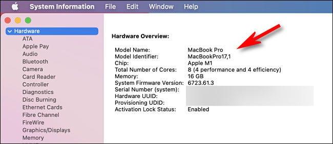 صفحة نظرة عامة على أجهزة معلومات نظام Mac
