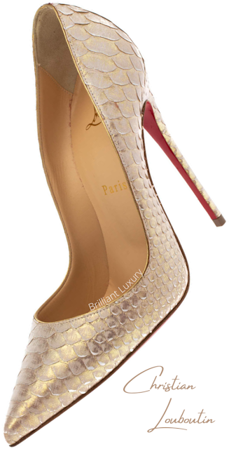 Christian Louboutin So Kate platinium gold python snakeskin pumps #brilliantluxury