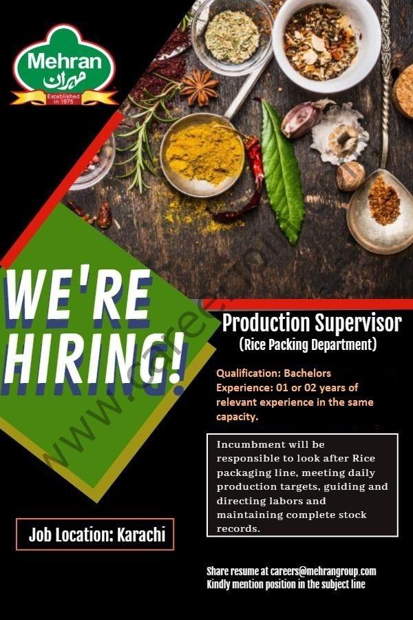 careers@mehrangroup.com - Mehran Spice & Food Industries Jobs 2021 in Pakistan