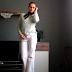 Futrzany sweter + dzwony + choker DIY