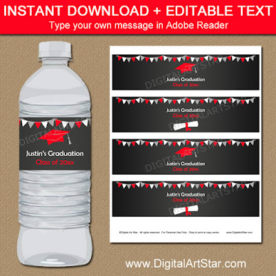 editable chalkboard graduation water bottle labels