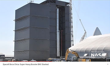 Super Heavy Booster BN1 in the high bay (Source: @Bocachicagal)