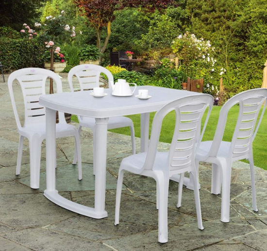 Petals Sultan Rectangular 4 Seater Plastic Dining Set - 1 Dining Table with 4 Chairs