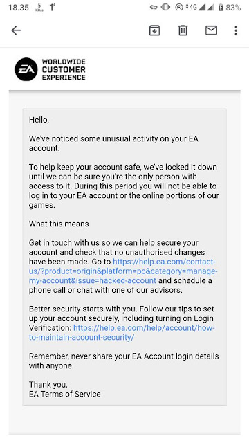 Email balasan dari EA