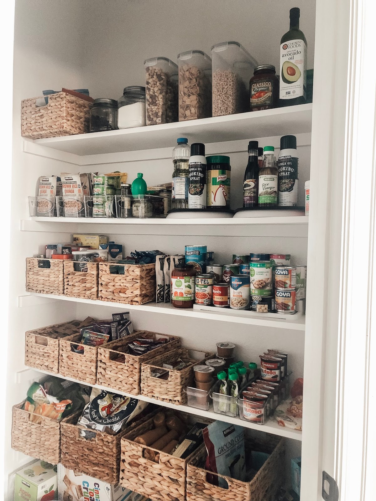 Easy pantry organization with woven baskets and clear containers