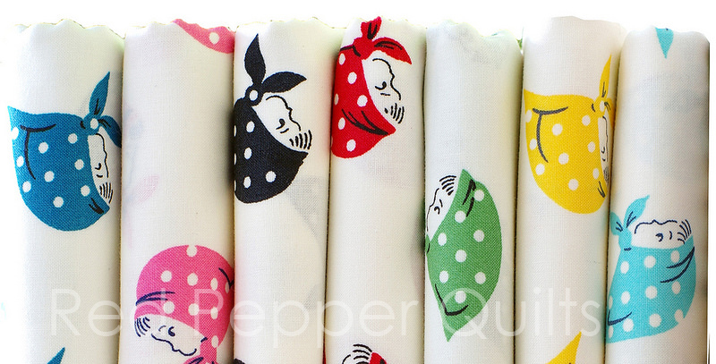 Kerchief Girls for Kei Fabrics ~ Japanese Fabric | © Red Pepper Quilts 2017