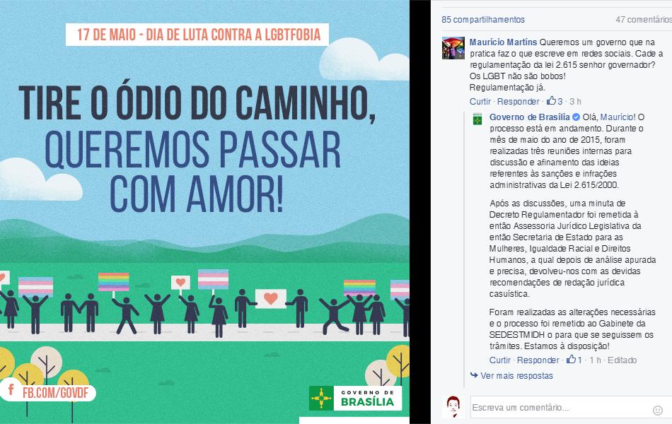 Governo de Brasília lembra do dia contra a homofobia e internautas cobram lei