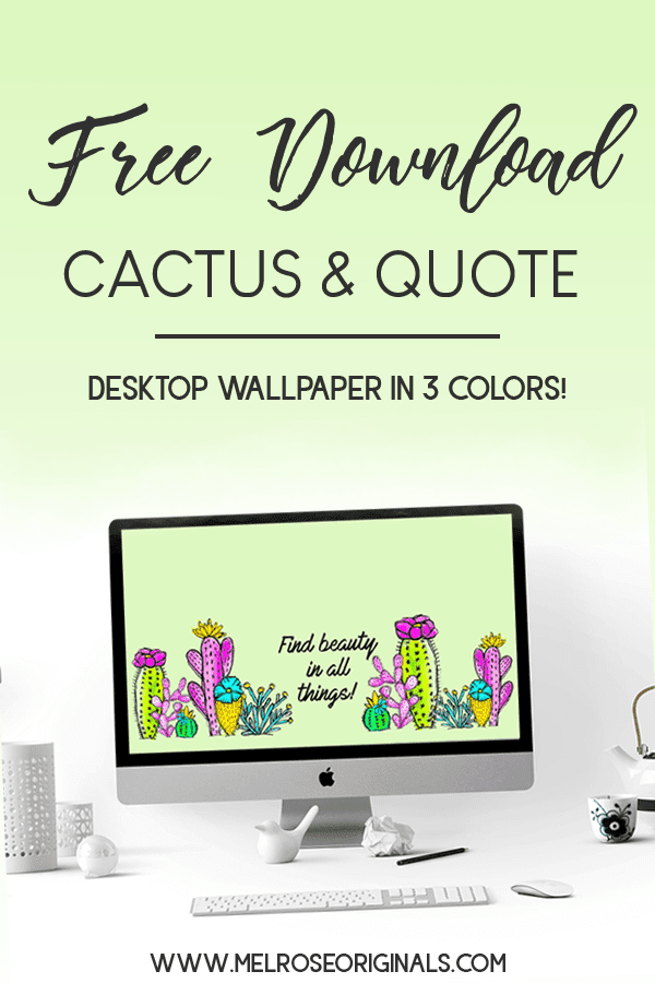 mock up image of desktop computer with colorful watercolor cactus wallpaper