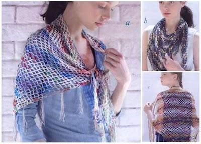Chal crochet pañoleta 3 posiciones primavera