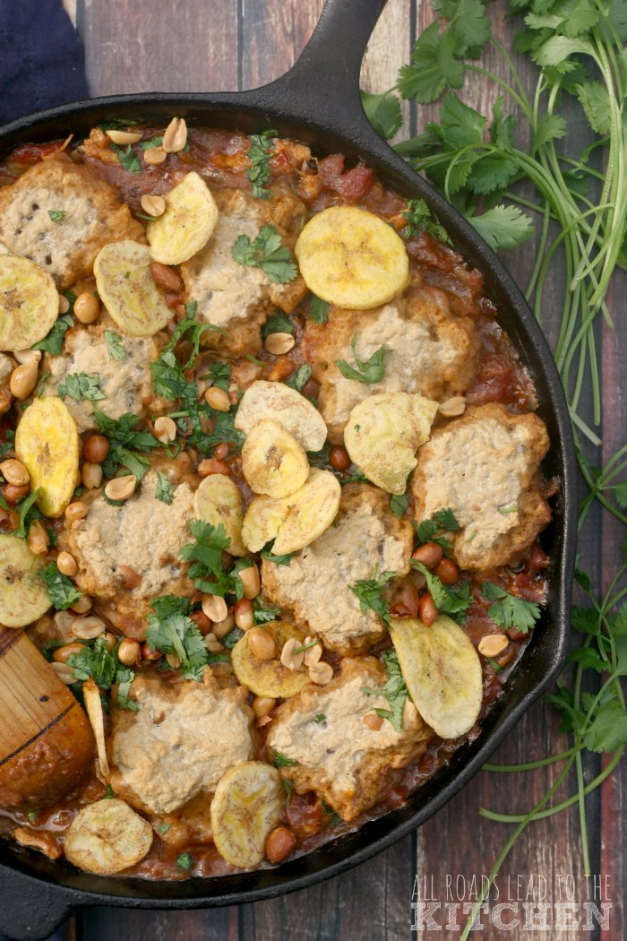 Chicken, Plaintain and Peanut Stew (with or without Pretzel Dumplings)