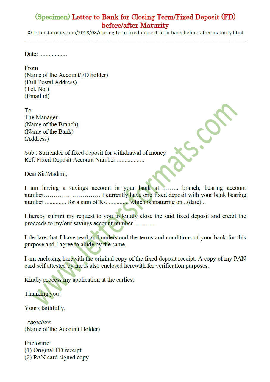 Bank Account Closing Letter Format After Death : account, closing, letter, format, after, death, Letter, Closing, Fixed, Deposit, Before/after, Maturity