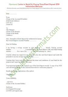 Letter to Bank for closing Fixed Deposit FD before or after Maturity