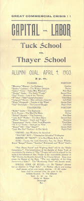 Broadside announcing the Tuck School - Thayer School baseball game scheduled for April 4 1903