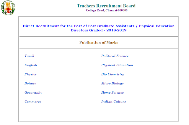 TN TRB PG Assistant Result 2019